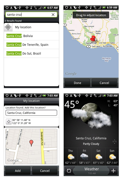 weather on htc hero