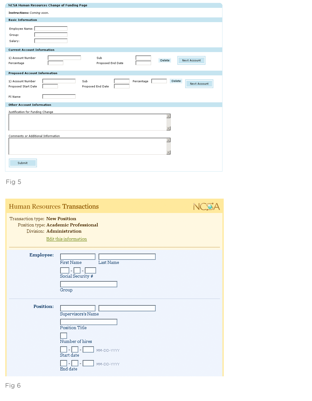 two versions of a transaction form