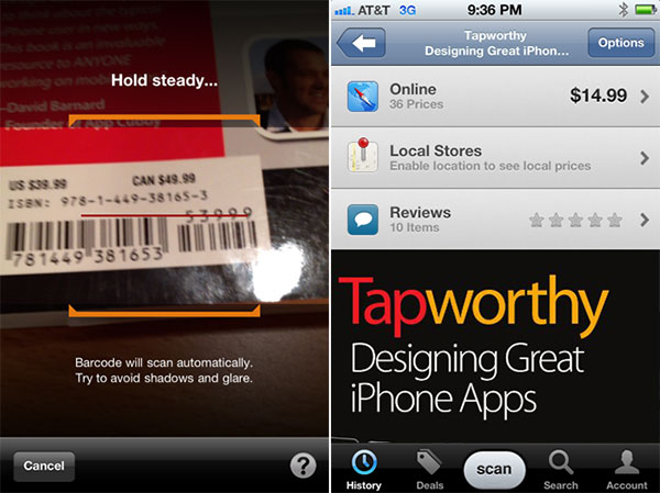 ShopSavy barcode scanning