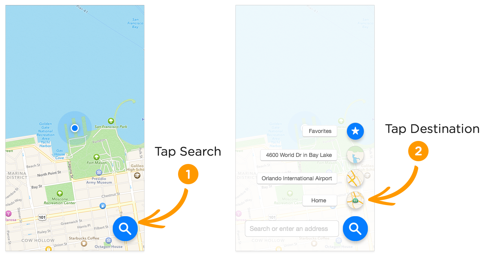 floating action button in apple maps