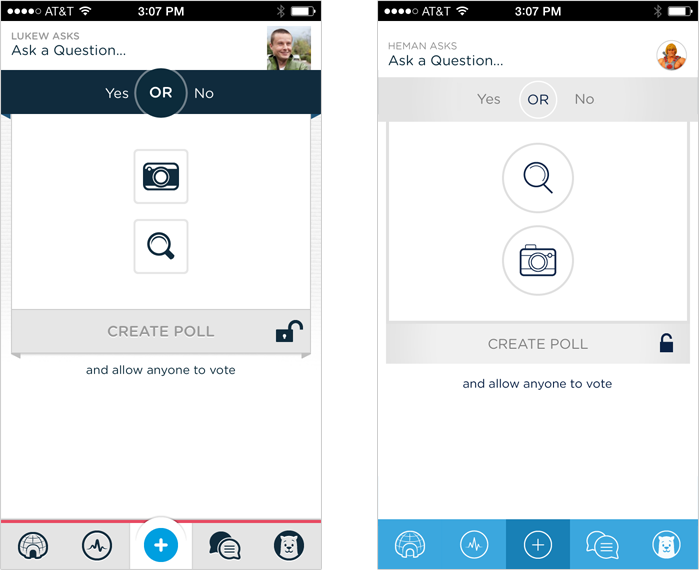 Polar before & after iOS7 redesign: create screen