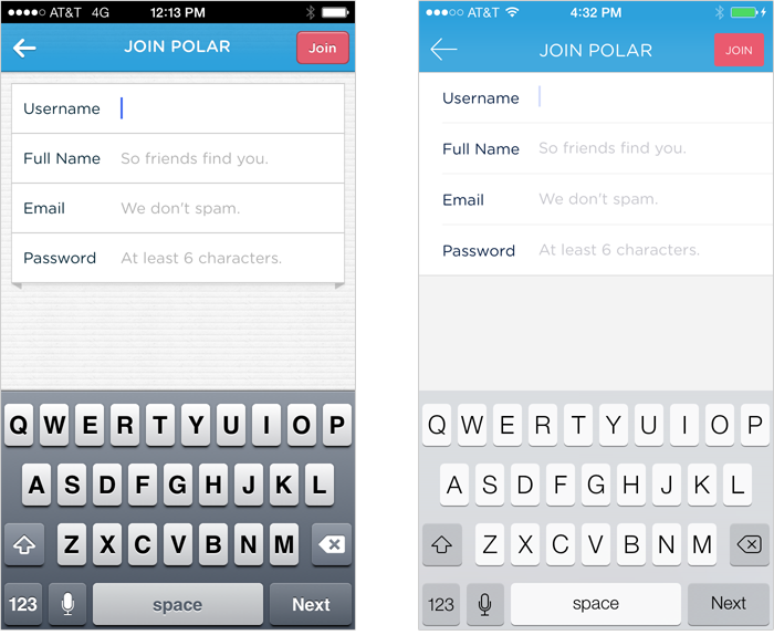 Polar before & after iOS7 redesign:forms