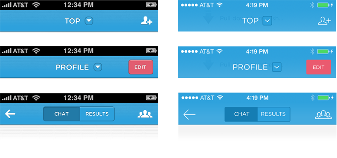 Polar before & after iOS7 redesign: headers