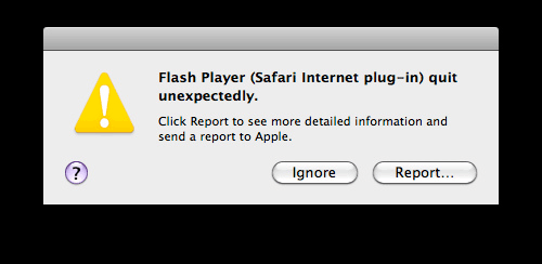 Flash Crashed Safari