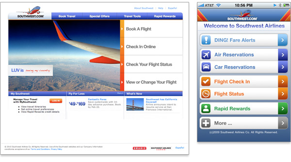 Mobile First Southwest Airlines comparison