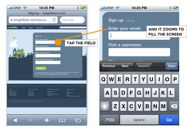 field zoom on mobile forms