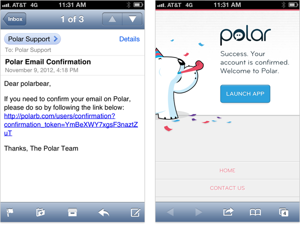 Confirming an Email with Polar