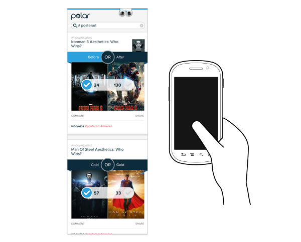 Polar topic pages on small screens