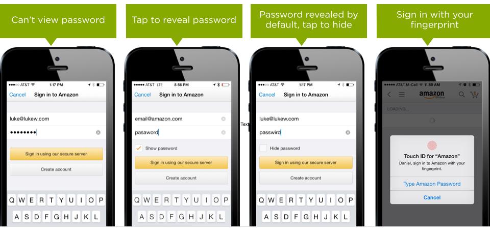 evolution of passwords on amazon app