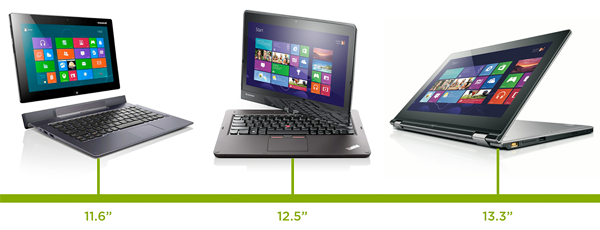 convertible tablet/laptop devices ranging from 11.6 to 13.3 inches