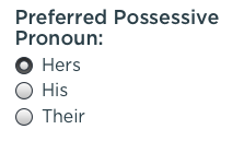 Possessive Pronoun Selection