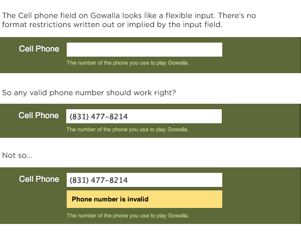 unflexible inputs on gowalla