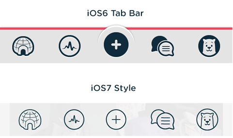 Polar Tab Bar before and after iOS7