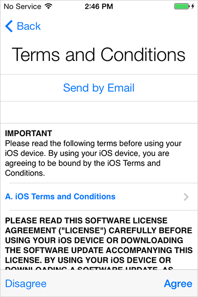 iOS7 Terms & Conditions