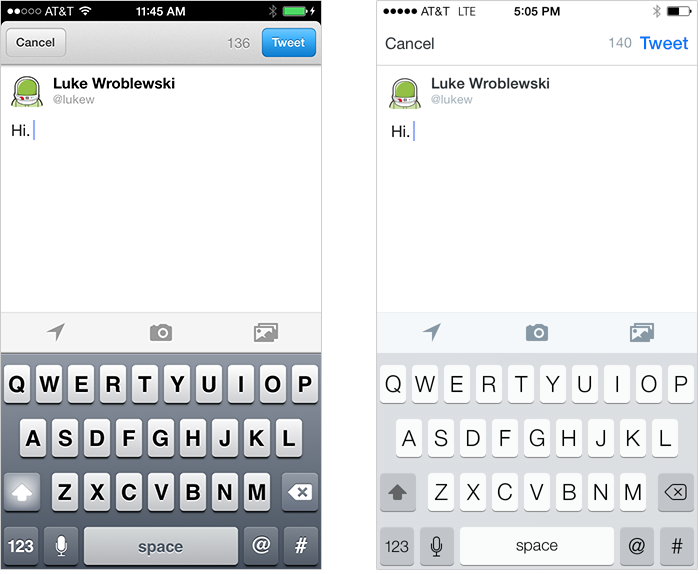 Twitter before & after iOS7 redesign: tweet
