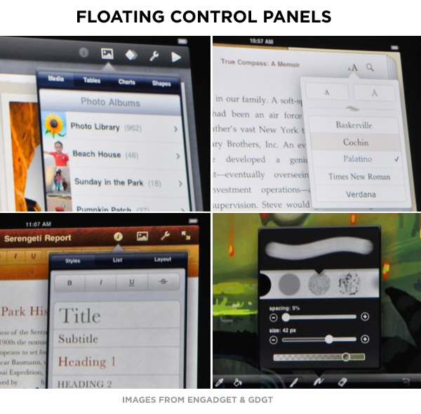 ipad user interface -floating panels
