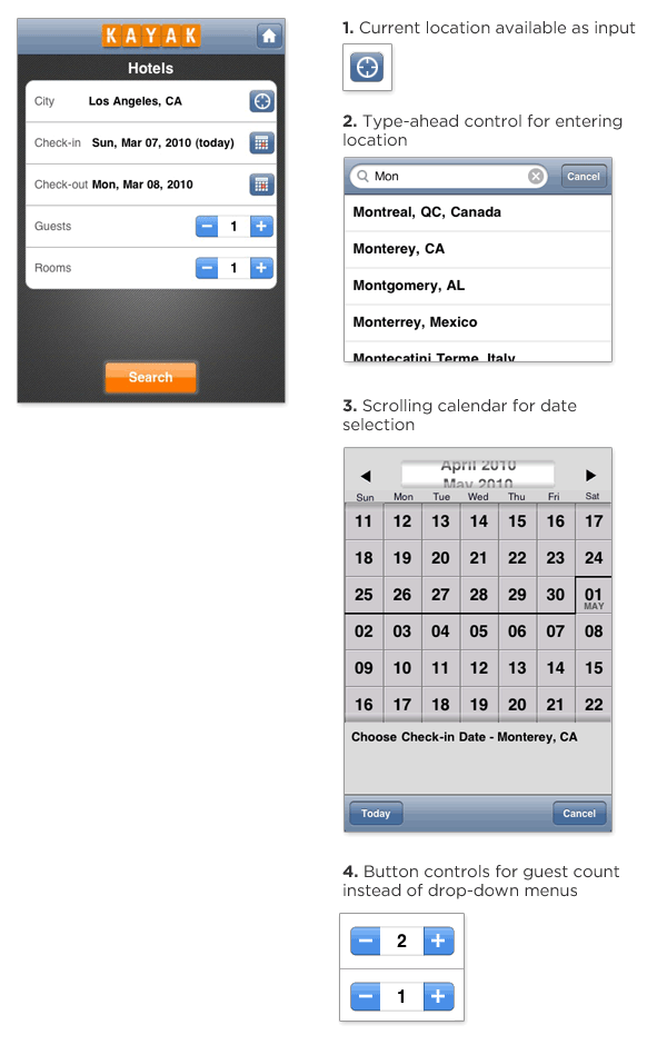 Kayak mobile form
