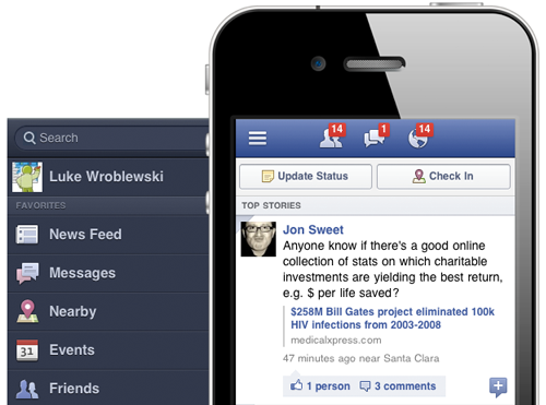 multidevice layout patterns: Facebook off screen