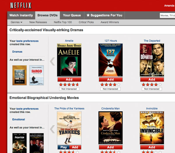 Netflix box art on Web