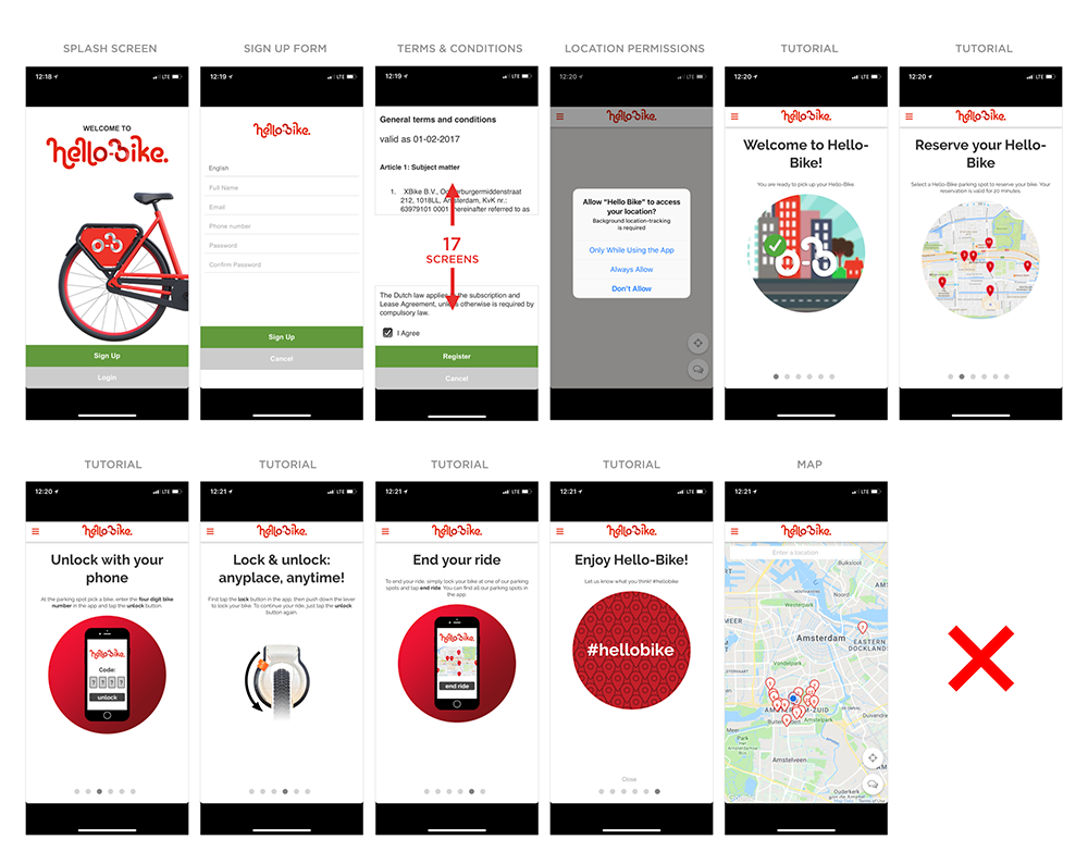 Hello-Bike app mobile on-boarding process
