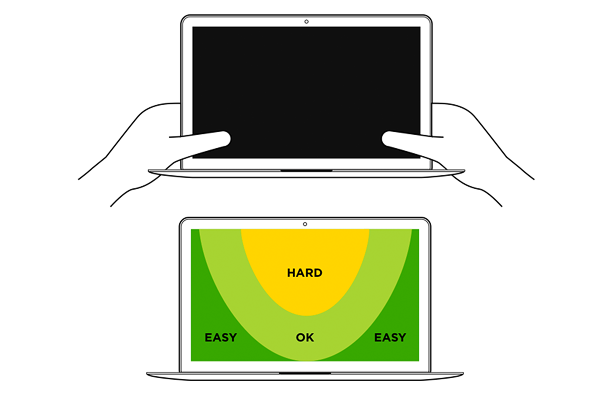 comfortable touch areas on touch-enabled laptops
